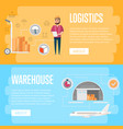 warehouse logistics and management flyers vector image vector image