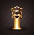 winner 2015 golden label design with ribbon vector image vector image