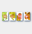 yellow orange paper cut wave shapes layered curve vector image