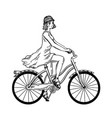 young woman ride on bicycle engraving vector image vector image