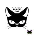 Black cat fan club Logo for cat lovers or cat vector image