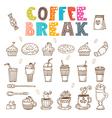 Coffee break doodle set Hand drawn coffee elements vector image