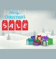 a christmas sale poster with colorful gifts on a vector image vector image
