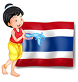 A smiling Thai woman in front of the Thailand flag vector image vector image