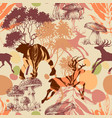 animals in the forest seamless pattern vector image