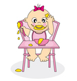 baby girl eating vector image