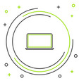 black and green line laptop icon isolated on white vector image vector image