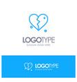 Broken love heart wedding blue outline logo place