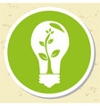 bulb with tree ecology label vector image vector image