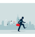 Businessman walking with city background vector image vector image