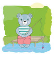 cartoon bear catches fish vector image vector image
