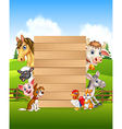 Cartoon farm animals holding wooden sign vector image