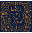Coffee time Lettering on blue background Coffee vector image