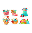 colorful bags and baskets with holiday presents vector image vector image