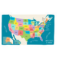 colorful hand drawn map of the usa vector image vector image