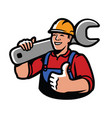 construction worker with wrench repairs industry vector image