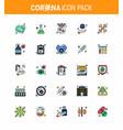 corona virus 2019 and 2020 epidemic 25 flat color vector image vector image