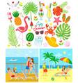 couple on beach and ship enjoy summer vector image vector image
