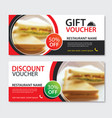 discount voucher sandwich template design set of vector image vector image