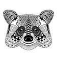 entangle stylized black raccoon face hand drawn vector image vector image