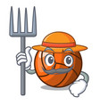 farmer volleyball character cartoon style vector image vector image