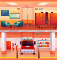 fire station empty interior and garage with car vector image