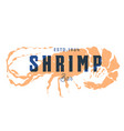 fish silhouettede sign shrimp emblem vector image