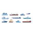 flat boats ocean sailboats ships yacht and vector image