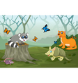funny animal with deep forest landscape background vector image vector image
