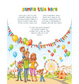 happy family in the amusement park vector image