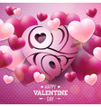 happy valentines day design with red and white vector image vector image