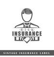 insurance label vector image