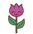 kawaii flower decoration character cartoon vector image