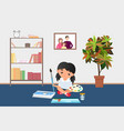 kid painting with brush paints on palette girl vector image vector image
