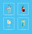 let s celebrate have party fun and drink icons vector image vector image