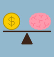 money dollar coin and brain on weight scale vector image