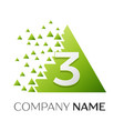 number three logo in the colorful triangle vector image vector image