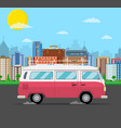 retro travel van car with bag on roof vector image vector image