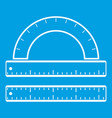ruler and protractor icon white vector image vector image