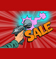 sale inscription science fiction shot of a blaster vector image vector image