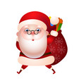 santa claus with a bag gifts vector image vector image