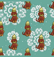 seamless pattern cute puppy vector image