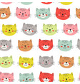 seamless pattern with colorful heads cats vector image