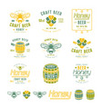 set honey beer labels and badges vector image vector image
