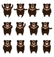 Set of flat moon bear icons vector image