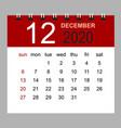simple desk calendar for december 2020 vector image vector image