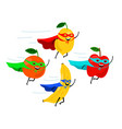 smiling fruit superheroes vector image vector image