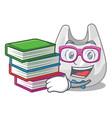 student with book plastic bag mascot cartoon vector image