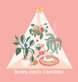 super cute hygge christmas home chill out scene vector image vector image