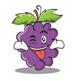 tongue out with wink grape character cartoon vector image vector image